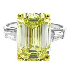 GIA Cert 6.69 Carat Fancy Yellow Emerald Cut Classic Diamond Ring