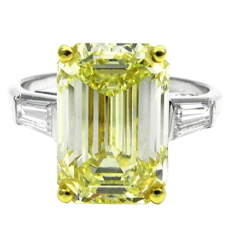 GIA Cert 6.69 Carat Fancy Yellow Emerald Cut Classic Diamond Ring