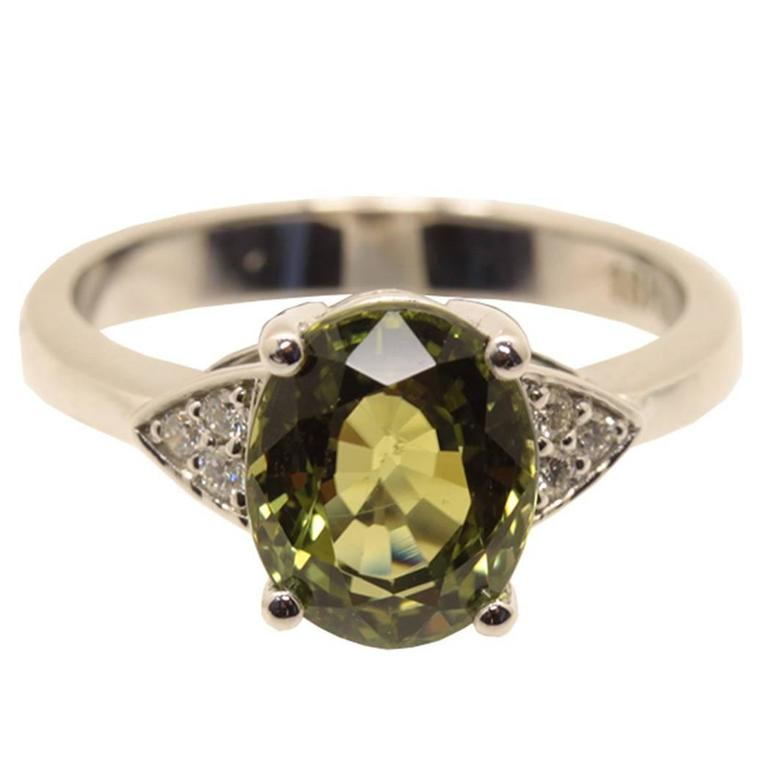 3.21 Carat Tourmaline Diamond Gold Ring