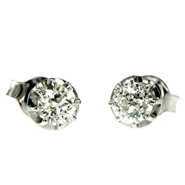 Old cut Diamonds Gold Solitaire Stud Earrings