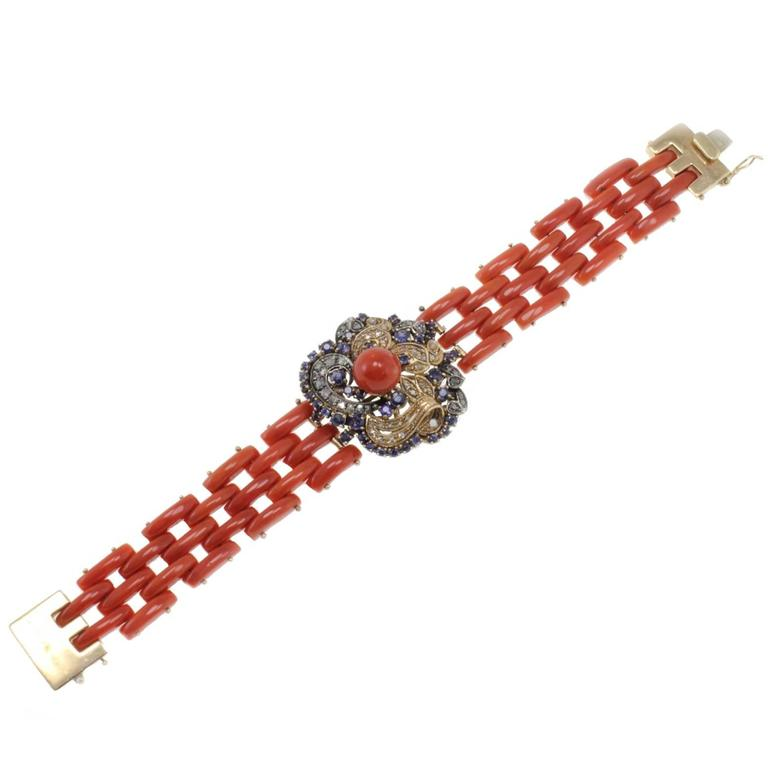 Diamonds Blue Sapphires Coral Gold and Silver Bracelet