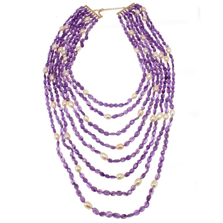 Luise Amethyst Pearls Silver Multi-Stand Necklace  For Sale