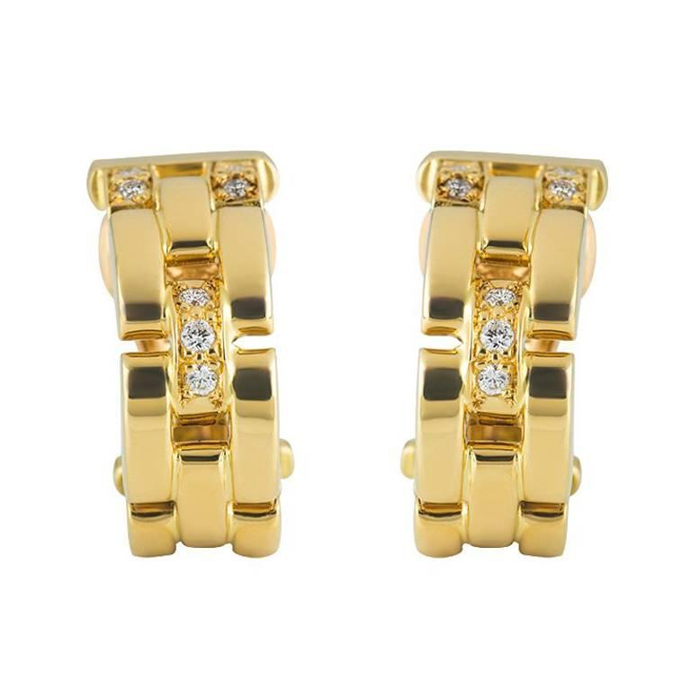 Cartier Maillon Panther Diamond and Gold Earrings For Sale