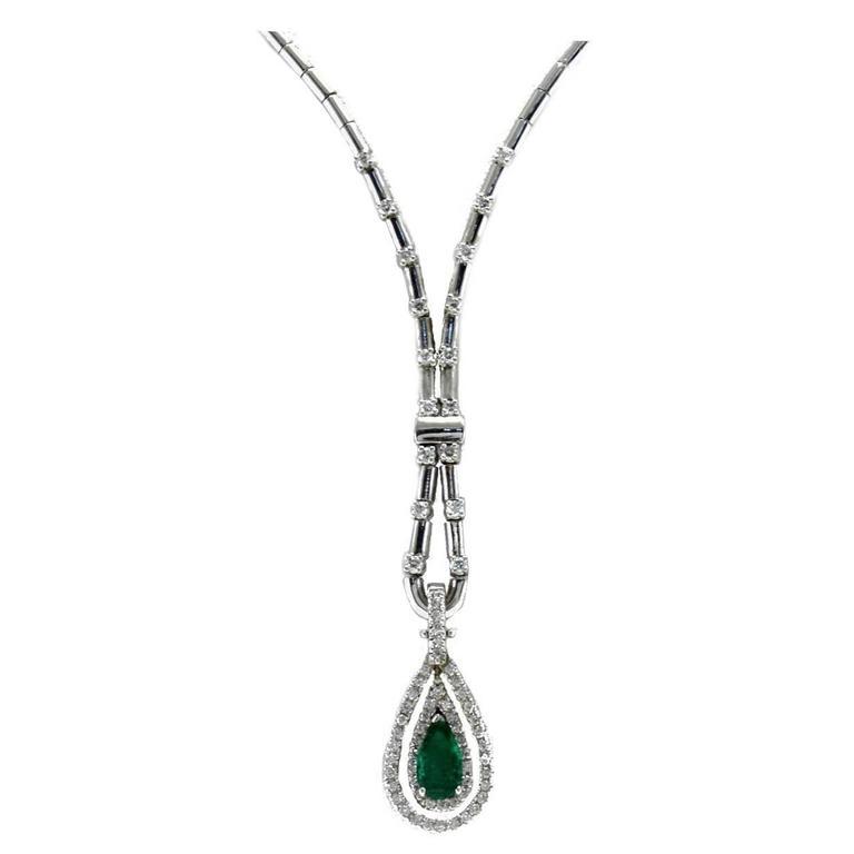 Diamonds Emerald white gold Drop Necklace
