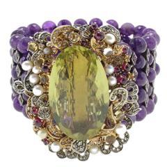 Luise Diamonds Rubies Semiprecious Stones Pearls Amethyst Bracelet