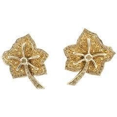 Diamonds Topaz Clip-On Gold Earrings