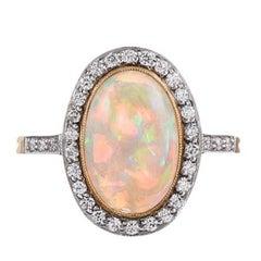2.23 Carat Opal Cabochon Diamond Ring
