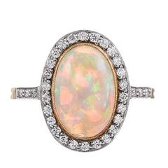 2.23 Carat Opal Cabochon Diamond  Ring