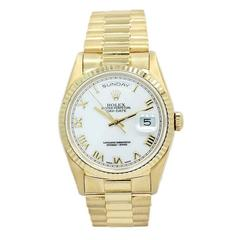 Rolex Yellow Gold White Roman Dial Day/Date President Automatic Wristwatch