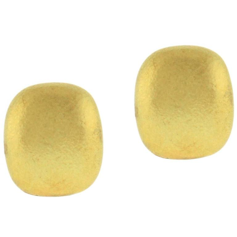 Tiffany & Co. Cushion Shape Textured Gold Earrings