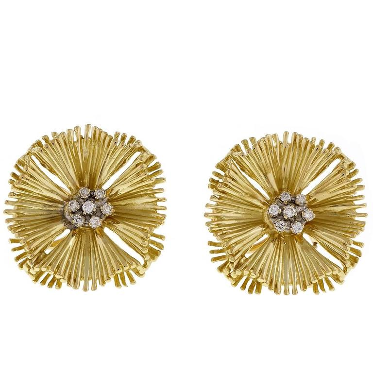 Diamond Cluster Gold Fan Earrings For Sale