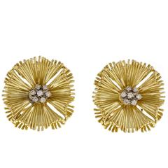 Diamond Cluster Gold Fan Earrings