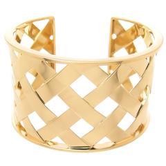 Verdura Criss Cross Weave Cuff Yellow Gold Bracelet