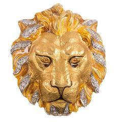 Masriera Diamond Accented Lion Head Pin Pendant