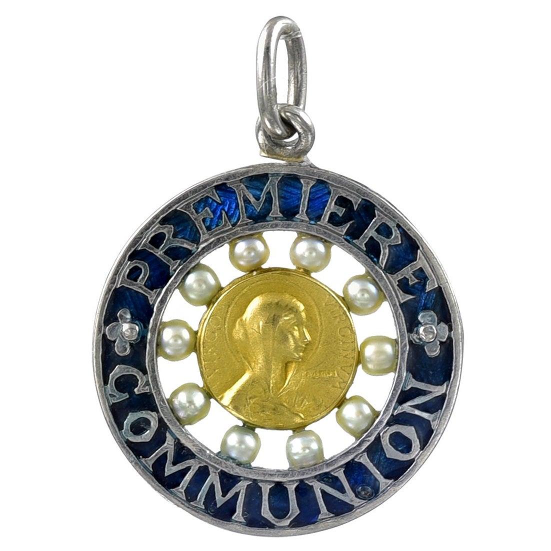 Antique Platinum Plique a Jour First Communion Pendant