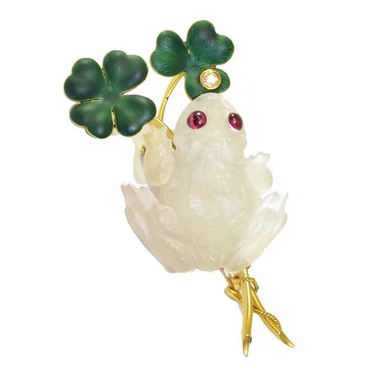 Carved Moonstone Frog Brooch