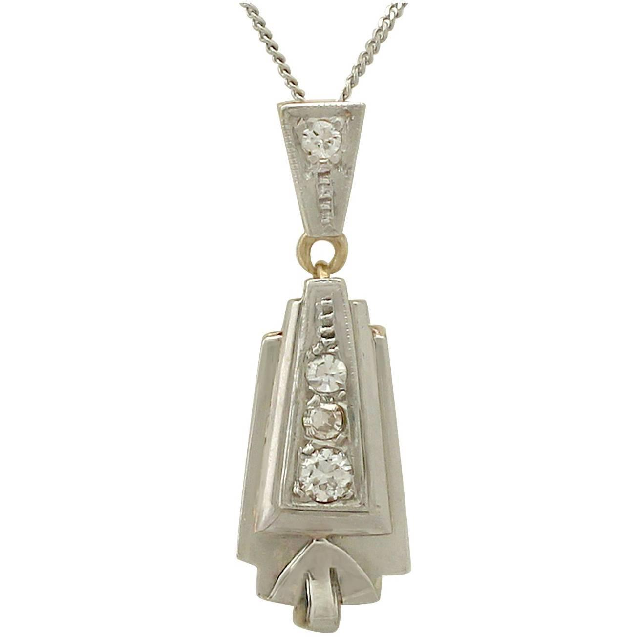 Art deco yellow white gold diamond pendant necklace for sale at 1stdibs mozeypictures Image collections