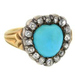 Antique Victorian Persian Turquoise Diamond Heart Ring
