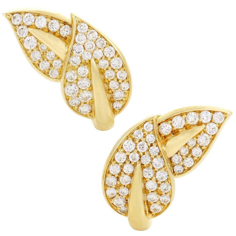 Van Cleef & Arpels Diamond Pave Yellow Gold Leaf Earrings