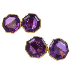 Outstanding Antique Amethyst Gold Cufflinks