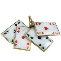 Enamel Gold Four Aces Charm