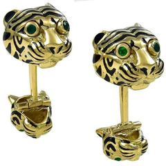 David Webb Enamel Emerald Gold Tiger Cufflinks