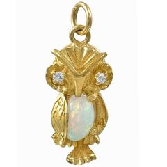 Opal Diamond Gold Owl Charm