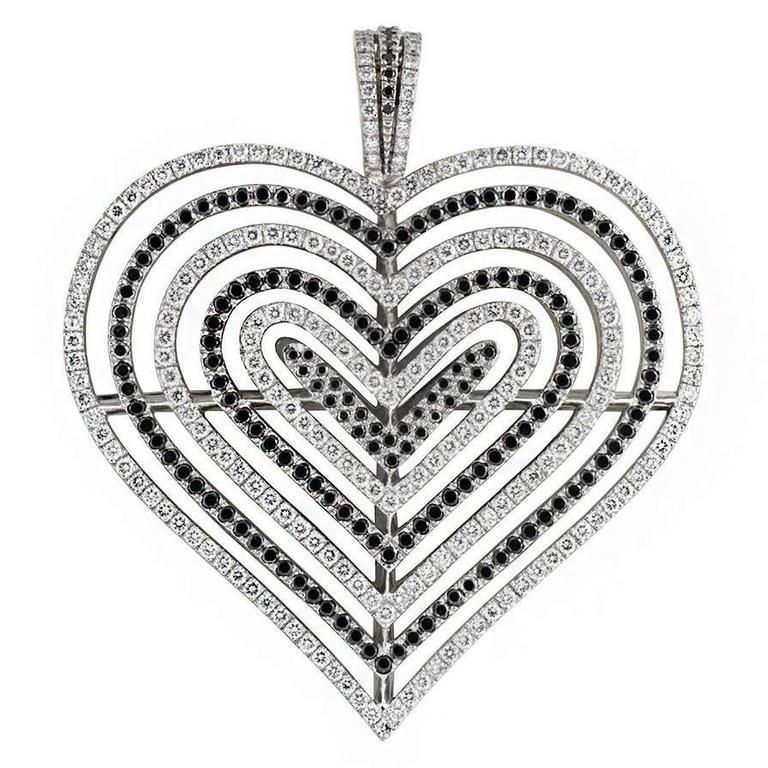 Theo fennell diamond heart pendant for sale at 1stdibs theo fennell white and black diamond heart pendant 262ct aloadofball Images
