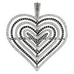 Theo Fennell White and Black Diamond Heart Pendant 2.62ct