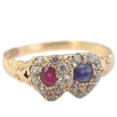 Victorian Gold Ruby Sapphire Diamond Double Heart Ring