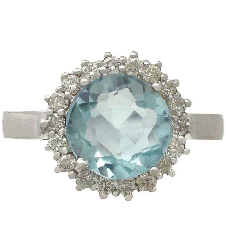 2.10 Carat Aquamarine and 0.38 Carat Diamond, White Gold Ring