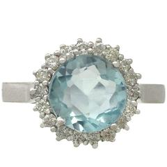 2.10 Carat Aquamarine and 0.38 Carat Diamond, White Gold Ring