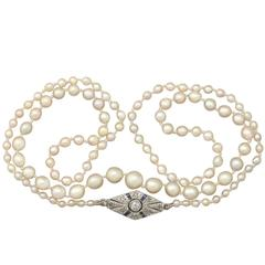 Natural Pearl Necklace with Diamond, Sapphire and Gold Clasp