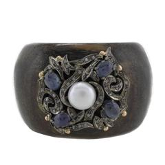 Luise Diamonds Blue Sapphires Pearl Ebony Gold and Silver Bracelet