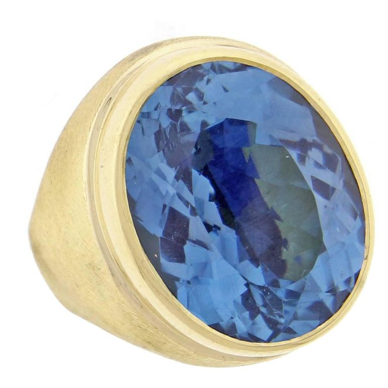 Burle-Marx  Oval Blue Topaz Ring For Sale