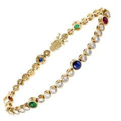 Graff Diamond Emerald Ruby and Sapphire Yellow Gold Bracelet
