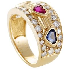 Van Cleef & Arpels Diamond Emerald Ruby and Sapphire Yellow Gold Band Ring