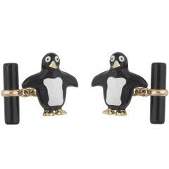 Gold Onyx Enamel Penguin Cufflinks