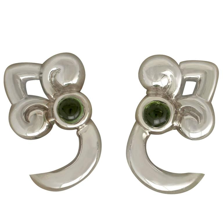 1990s Peridot and White Gold Earrings