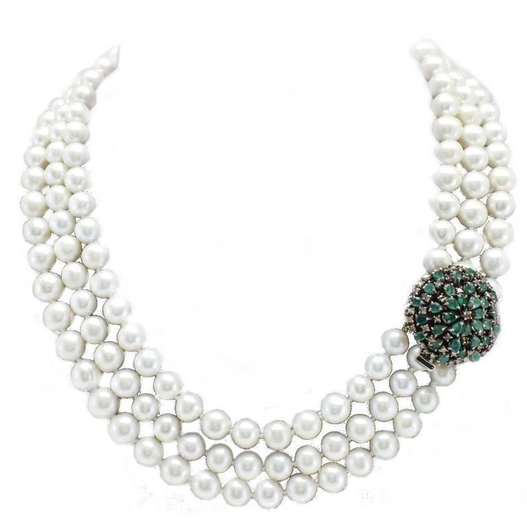 Diamonds Emeralds Pearls Multi-Strand Gold Necklace