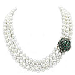Luise Diamonds Emeralds Pearls Multi-Strand Necklace