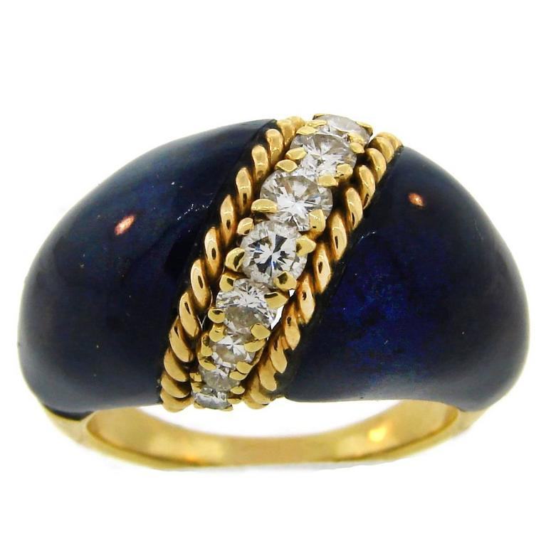 1970s Van Cleef & Arpels VCA Lapis Lazuli Diamond Yellow Gold Ring For Sale
