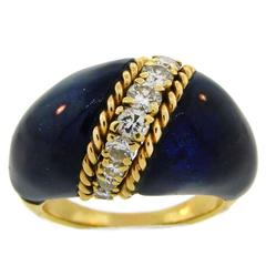1970s Van Cleef & Arpels VCA Lapis Lazuli Diamond Yellow Gold Ring