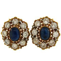 1960s Mario Buccellati Sapphire Diamond Yellow Gold Earrings