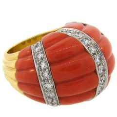 1970s DAVID WEBB Coral Diamond Yellow Gold Ring
