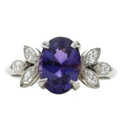 2.17 Carat Oval Purple Sapphire Marquise Diamond Platinum Ring