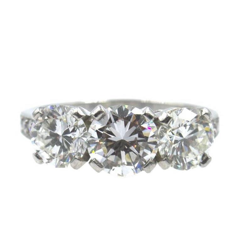 Tiffany & Company 2.77 Carat Three-Stone Diamond Platinum Ring