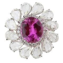 6.04 Carat GIA Natural No Heat Pink Sapphire Diamond white gold Ring
