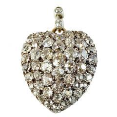 19th Century Diamond Bead Set Heart Locket