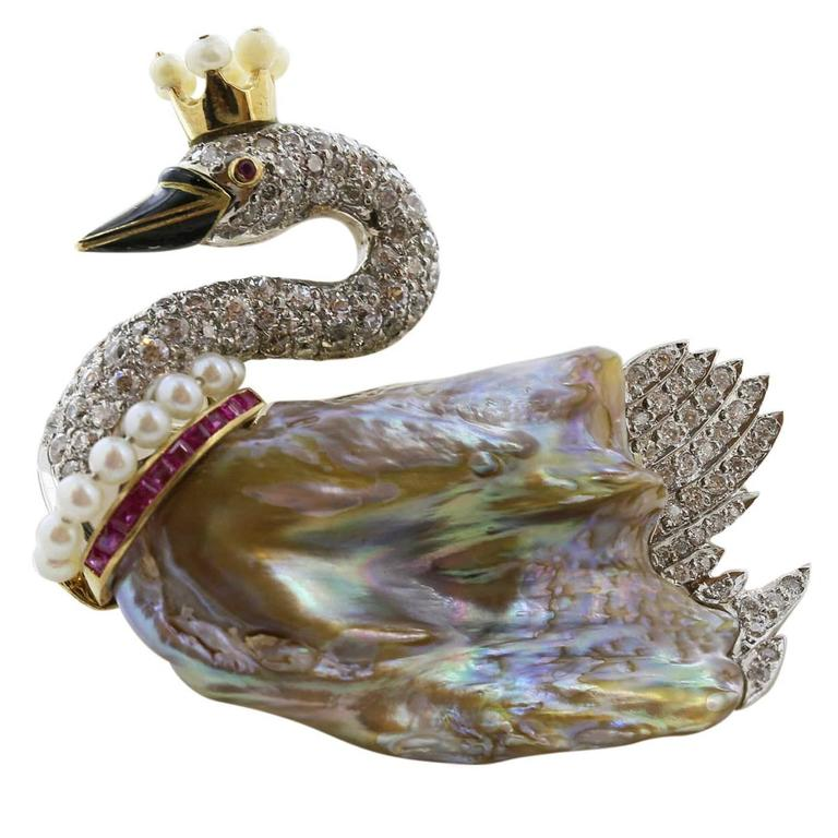 Diamond Pearl Ruby Swan Pin